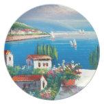 Pintura de un pueblo italiano platos