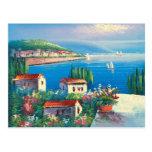 Pintura de un pueblo italiano postales