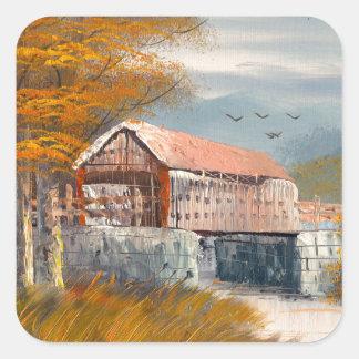 Pintura de un puente cubierto viejo de colcomania cuadrada