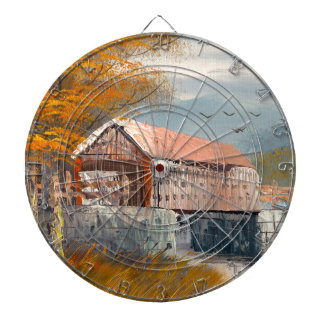 Pintura de un puente cubierto viejo de Pennsylvani Tablero Dardos