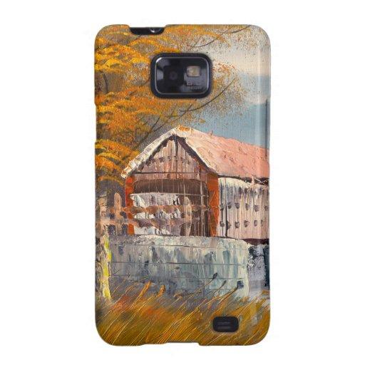 Pintura de un puente cubierto viejo de Pennsylvani Samsung Galaxy S2 Carcasas