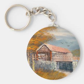 Pintura de un puente cubierto viejo de Pennsylvani Llavero Redondo Tipo Pin