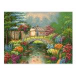 Pintura de un puente que camina de piedra postal