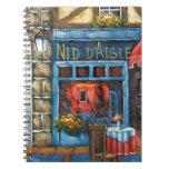 Pintura de un restaurante francés cuadernos