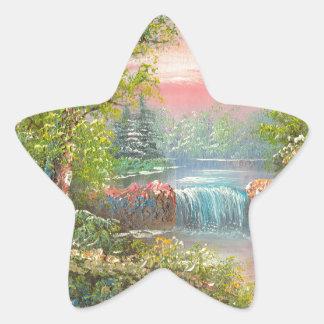 Pintura de un río boscoso en la puesta del sol calcomania forma de estrella