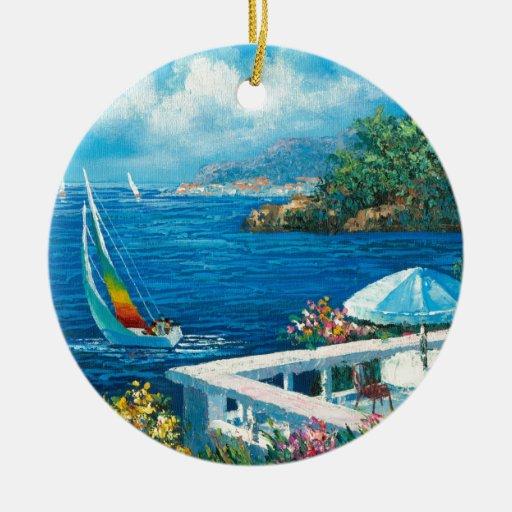 Pintura de un velero adorno navideño redondo de cerámica