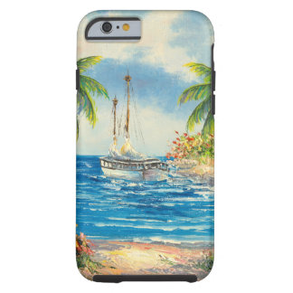 Pintura de un velero en Hawaii Funda Para iPhone 6 Tough