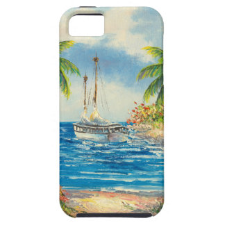 Pintura de un velero en Hawaii iPhone 5 Fundas