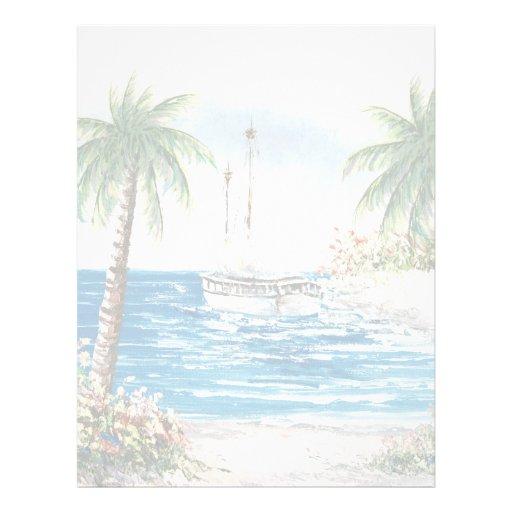 Pintura de un velero en Hawaii Plantilla De Membrete