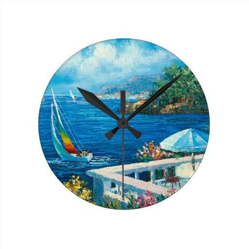 Pintura de un velero reloj redondo mediano