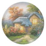 Pintura de una cabaña privada platos de comidas
