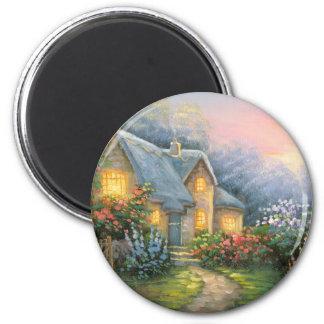 Pintura de una cabaña rústica de la fantasía imán redondo 5 cm