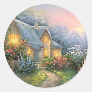 Pintura de una cabaña rústica de la fantasía pegatina redonda