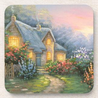 Pintura de una cabaña rústica de la fantasía posavaso
