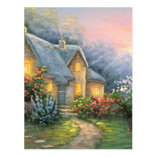 Pintura de una cabaña rústica de la fantasía postal