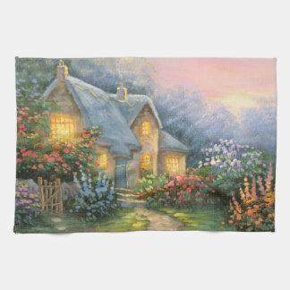 Pintura de una cabaña rústica de la fantasía toalla