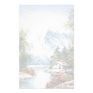 Pintura de una cabina a lo largo de un río de la m personalized stationery