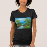 Pintura de una cala en el verano camisetas