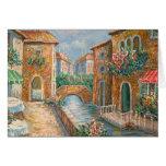 Pintura de una calle de antaño de Venecia Felicitacion
