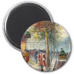 Pintura de una escena de la calle de la caída de l iman de frigorífico