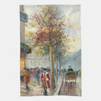 Pintura de una escena de la calle de la caída de l toallas de cocina