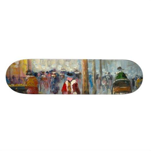Pintura de una escena de la calle de la caída de l monopatines personalizados