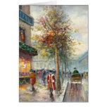 Pintura de una escena de la calle de la caída de l felicitaciones