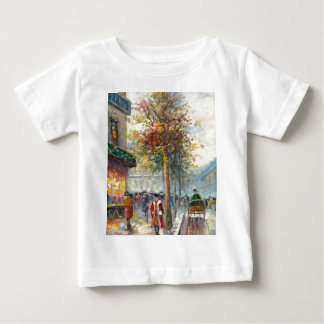 Pintura de una escena de la calle de la caída de playera