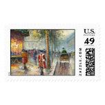 Pintura de una escena de la calle de la caída de sellos