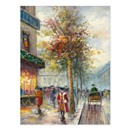 Pintura de una escena de la calle de la caída de postal