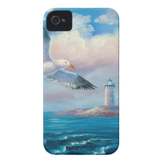 Pintura de una gaviota que vuela cerca de un faro iPhone 4 Case-Mate fundas