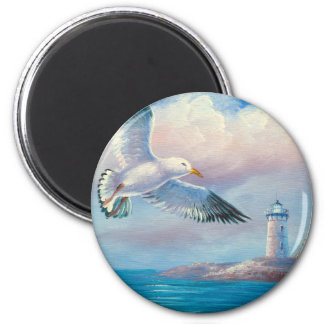 Pintura de una gaviota que vuela cerca de un faro imán redondo 5 cm