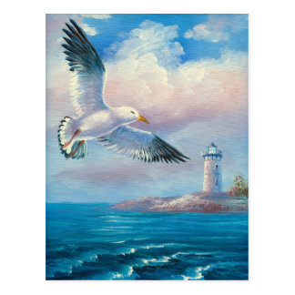 Pintura de una gaviota que vuela cerca de un faro tarjeta postal