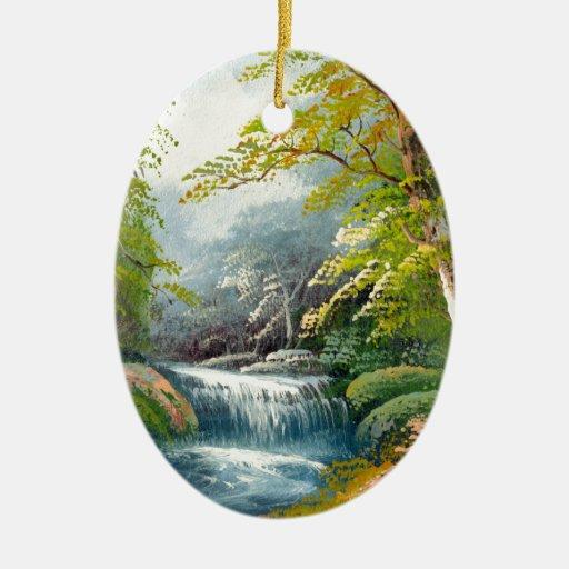 Pintura de una mini cascada ornamentos de reyes