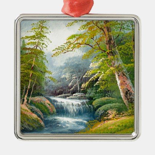 Pintura de una mini cascada adorno de navidad