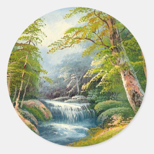 Pintura de una mini cascada pegatinas