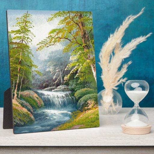 Pintura de una mini cascada placas de plastico