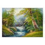 Pintura de una mini cascada tarjetón