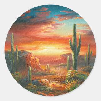 Pintura de una pintura colorida de la puesta del pegatinas redondas