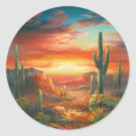 Pintura de una pintura colorida de la puesta del pegatina redonda