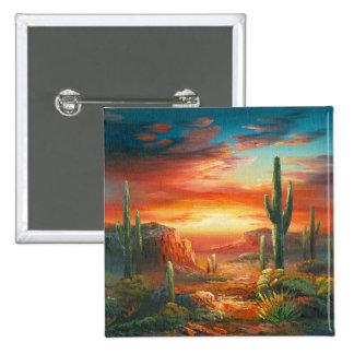 Pintura de una pintura colorida de la puesta del s pin cuadrada 5 cm