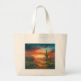 Pintura de una pintura colorida de la puesta del s bolsas