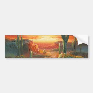Pintura de una pintura colorida de la puesta del s etiqueta de parachoque