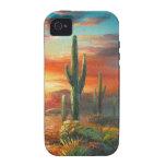 Pintura de una pintura colorida de la puesta del s vibe iPhone 4 carcasas