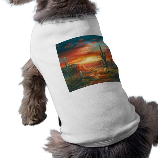Pintura de una pintura colorida de la puesta del s camisetas de perro
