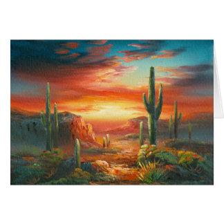 Pintura de una pintura colorida de la puesta del s tarjeta de felicitación