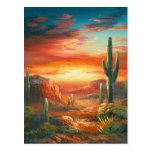 Pintura de una pintura colorida de la puesta del s tarjeta postal