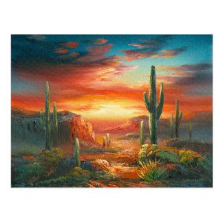 Pintura de una pintura colorida de la puesta del tarjeta postal