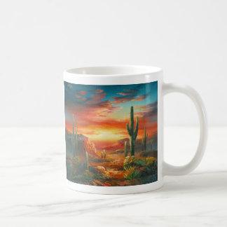 Pintura de una pintura colorida de la puesta del taza de café