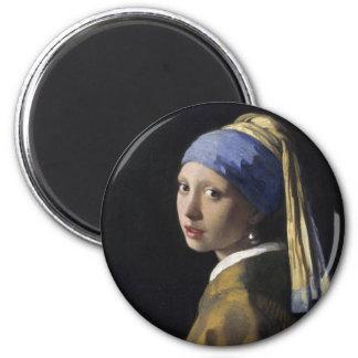 Pintura de Vermeer - chica con un pendiente de la  Imán Redondo 5 Cm